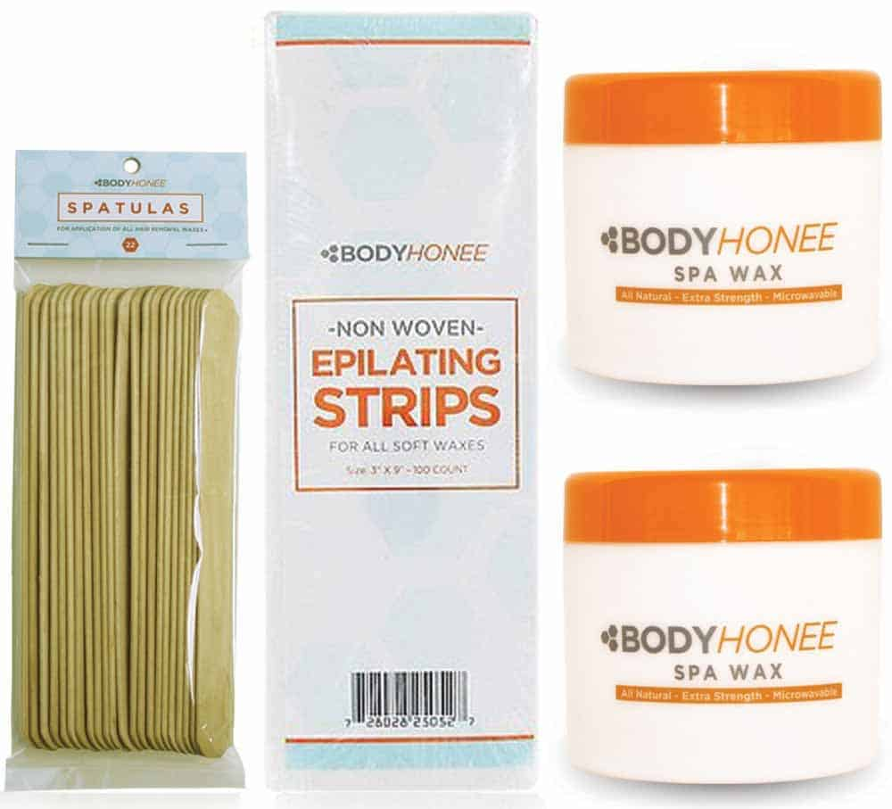 Hair removal reviewed and ranked - Bodyhonee All Natural Spa Wax Extra Strength Hair Removal Waxing Kit Men Women