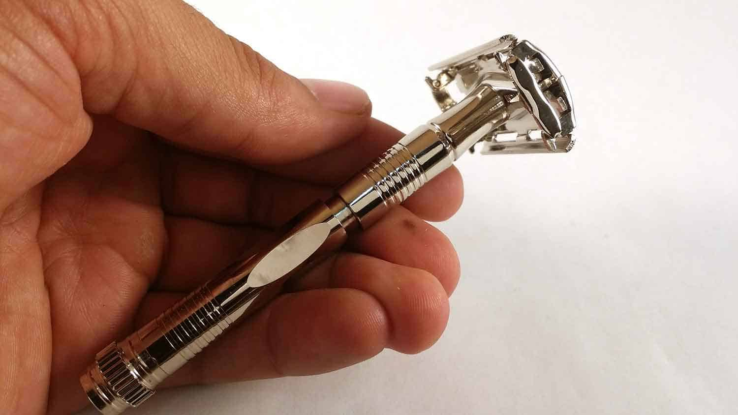 Parker 90R Long Handle Butterfly Open Double Edge Safety Razor