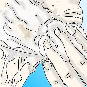 Apply shaving lather with fingers
