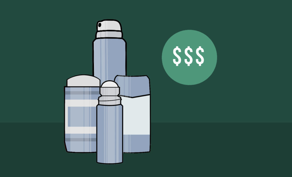 Amount and cost of deodorant